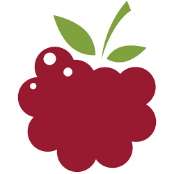 Berry Interesting Productions, Inc. mark - a red raspberry with a green stem and two leaves